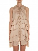 BALMAIN Lace-up ruffled silk dress from Resort 2016 ~ dresses ~ beige