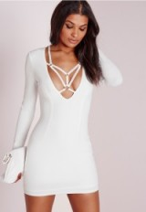 MISSGUIDED long sleeve harness detail bodycon dress in white. Plunge front | low cut | plunging necklines | going out dresses  #