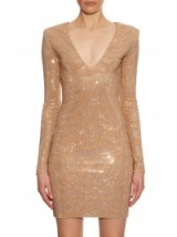 BALMAIN Long-sleeved glass stone-embellished dress in beige ~ dresses ~ occasion