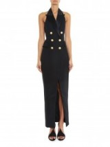 BALMAIN Peak-lapel halterneck midi dress ~ dresses ~ occasion ~ black