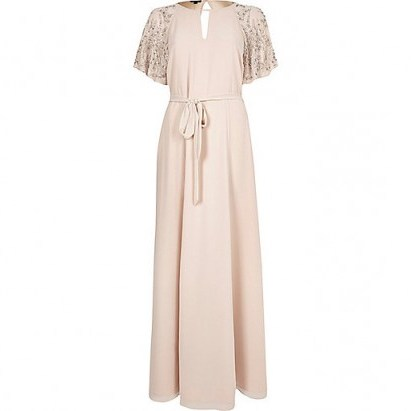 River Island Pink embellished maxi dress – long evening dresses – occasion wear – party fashion - flipped