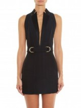 BALMAIN Plunging V-neck mini dress in black ~ dresses
