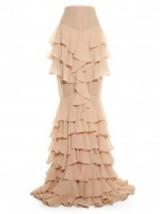 BALMAIN Ruffle-silk long skirt from Resort 2016 ~ nude pink ~ ruffles ~ long skirts ~ occasion