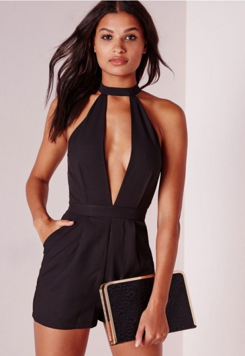 MISSGUIDED split front playsuit in black. Plunge | deep V necklines | low cut playsuits | plunging neckline - flipped