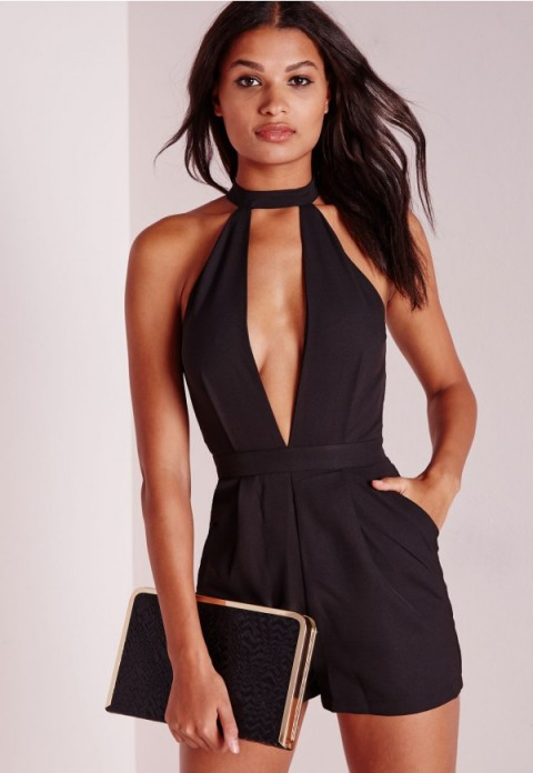MISSGUIDED split front playsuit in black. Plunge | deep V necklines | low cut playsuits | plunging neckline