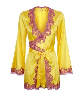 Agent Provocateur Lucie Silk Gown in yellow silk and purple Leavers lace ~ dressing gowns ~ luxury lingerie ~ vintage style