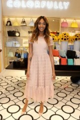 Model Jourdan Dunn looks pretty in a pale pink dress and matching heels, at the Kate Spade store launch in London, April 2016. Celebrity fashion | outfits | dresses