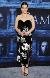 Emilia Clarke red carpet style at the Game Of Thrones season 6 premiere in Los Angeles, April 2016. Actresses at events – floral print dresses