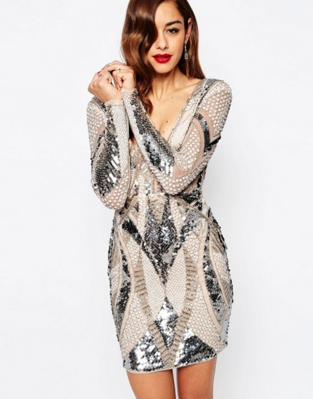 Asos Red Carpet Embellished Deep Plunge Mini Bodycon Dress