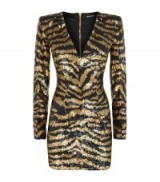 Balmain Embellished Sequin Tiger Print Dress black/gold ~ animal prints ~ sequined occasion dresses ~ luxury occasion wear ~ designer fashion