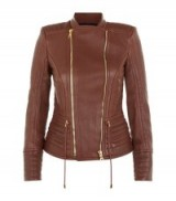 Balmain Brown Leather Biker Jacket ~ designer jackets ~ luxury fashion ~ luxe clothing
