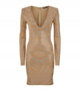Balmain Tiger Embellished Mini Dress in beige ~ gem embellishments ~ designer occasion dresses ~ plunge front ~ plunging neckline ~ designer fashion ~ luxe clothing