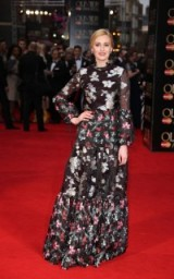 Laura Carmichael chose a romantic floral Erdem gown to attend the 2016 Olivier Awards held in London