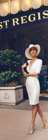 White dress and hat with metallic caged sandals ~ chic outfits ~ glamour ~ glamorous life