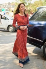 The Duchess of Cambridge on a royal tour of India, wearing a red maxi dress by fashion brand Glamorous.com ~ Kate Middleton style ~ Kate Middleton's fashion ~ long day dresses