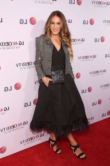 SJP style ~ Sarah Jessica Parker wearing a feather trimmed Tracy Reese dress, tweed jacket and strappy sandals ~ outfits ~ celebrity fashion - flipped