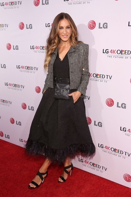 SJP style ~ Sarah Jessica Parker wearing a feather trimmed Tracy Reese dress, tweed jacket and strappy sandals ~ outfits ~ celebrity fashion