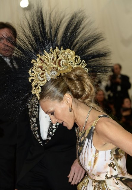 Sarah Jessica Parker's hair and mohawk headdress at the 2013 Met Gala in New York