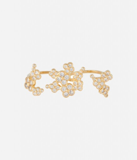 HENRI BENDEL – GOLD TONE LUXE PETAL CLUSTER RING. Cubic Zirconia jewelry | costume jewellery | fashion rings