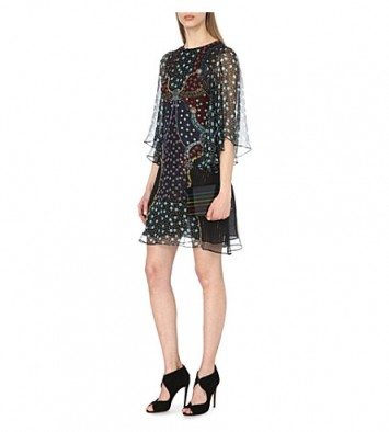 MARY KATRANTZOU Jewel-embellished silk shift dress Juno printed ~ occasion wear ~ semi sheer floaty dresses ~ designer clothing ~ garden parties ~ party fashion ~ summer event luxe