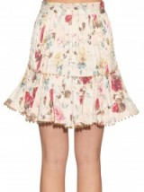 ZIMMERMANN Mischief floral-print pleated linen skirt ~ luxe skirts ~ summer ~ designer fashion ~ luxury ~ prints ~ holiday