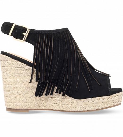 Black sandals holiday - Miss Kg Peyton Black Suedette Wedge Sandals Summer Wedges Fringed Shoes Fringe Embellished
