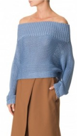 Celebrity fashion…TIBI – NEO SILK OVERSIZED CROPPED PULLOVER in morning blue – as worn by Rosie Huntington-Whiteley for the UGG Fall 2016 campaign. Off the shoulder jumpers | knitwear | sweaters