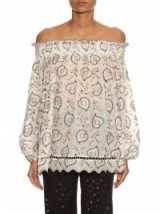 ZIMMERMANN Pavilion off-the-shoulder cotton-voile top ~ luxe ~ paisley ~ luxury ~ printed tops ~ prints ~ summer ~ holiday ~ fashion ~ designer