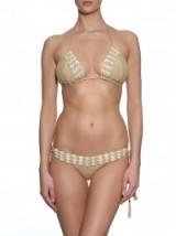 ANNA KOSTUROVA Seashore crochet bikini in beige ~ halterneck bikini tops ~ halternecks ~ bikini bottoms ~ luxe style swimwear ~ chic poolside accessories ~ luxury beachwear ~ holiday sets ~ summer style ~ shell trim