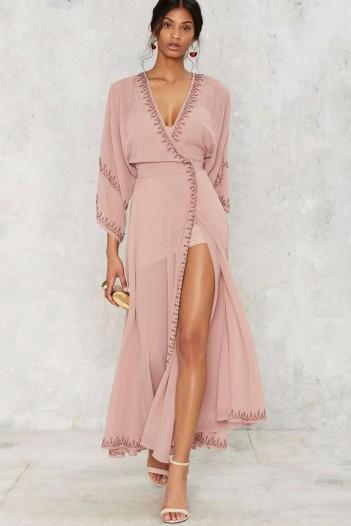 The Jetset Diaries Las Perlas Kimono Dress Mauve Occasion