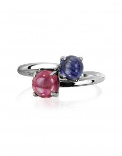 MIA & BEVERLY Iolite and Garnet 18K White Gold Ring ~ fine jewellery ~ red & blue stone rings - flipped