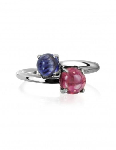 MIA & BEVERLY Iolite and Garnet 18K White Gold Ring ~ fine jewellery ~ red & blue stone rings