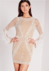 MISSGUIDED premium feather sleeve beaded bodycon dress white – feathered dresses – party fashion – occasion wear – evening glamour – chic style – feathers