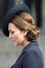 The Duchess of Cambridge with her hair in a chic low bun ~ Kate Middleton hairstyles ~ royal updos ~ Kate's hair