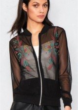 MISSY EMPIRE AIKO BLACK MESH EMBROIDERED BOMBER JACKET. Sheer jackets | casual fashion | floral embroidery
