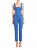 Kendall + Kylie Side-Cutout Denim Jumpsuit – as worn by Kylie Jenner, trying on clothes with Kendall on Instagram, 23 June 2016. Celebrity fashion   star style   blue cut out jumpsuits