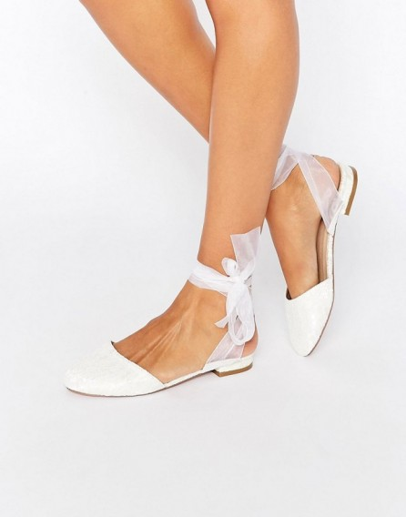 Asos Laurel Ballet Flats In Ivory Flat Wedding Shoes