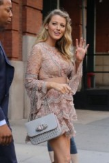 Pregnant actress Blake Lively leaves her hotel in NYC, for her appearance on the Today show, 20th June 2016. Celebrity dresses – Blake Lively's pregnancy style – romantic style fashion – embellished dresses
