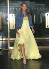 Blake Lively looked breathtaking dressed in a yellow Jenny Packham gown and denim jacket when she left the Today show, 20 June 2016 – celebrity style – Blake Lively's pregnancy style