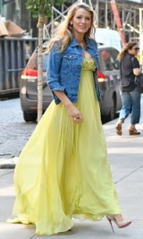 Blake Lively leaves the Today show in New York wearing a yellow Jenny Packham ball gown under a blue denim jacket! Celebrity fashion | star pregnancy style | gorgeous looks | outfit inspiration