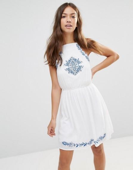 Boohoo Embroidered Sundress – white sundresses – summer dresses – holiday fashion