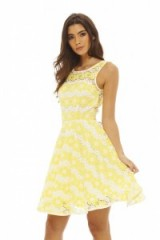 AX Paris BRIGHT CROCHET SKATER DRESS YELLOW – party dresses – fit and flare style – sleeveless – summer evenings – going out – evening fashion – feminine