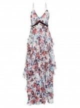MARY KATRANTZOU Caliente Solar Rose-print ruffled silk dress – evening wear – occasion dresses – designer fashion – luxury clothing – romantic style – feminine ruffles – layered – ruffle – floral prints