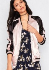 MISSY EMPIRE CALYPSO PINK AND GOLD REVERSIBLE BOMBER JACKET. Silky jackets | on trend fashion