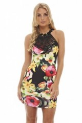 AX Paris CROCHET NECK BRIGHT FLORAL DRESS – party dresses – going out fashion – evening glamour – sleeveless – fitted – large flower prints