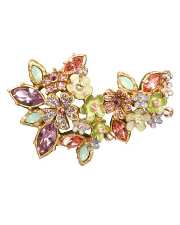 Jay Strongwater Naomi Floral Cluster Pin – flower brooches – floral pins – crystal jewellery – fashion jewelry – multicolored