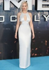 Jennifer Lawrence wearing a silver Dior Haute Couture cut out gown, at the X-Men: Apocalypse premiere in London. Celebrity glamour | glamorous looks | designer gowns | Hollywood style | star style
