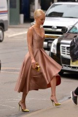 Kate Bosworth looks stunning in this light brown Jason Wu fit and flare dress and metallic gold accessories ~ celebrity dresses ~ designer fashion ~ chic outfits ~ womens with style