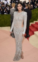 Kylie Jenner looked suitably glitzy & glam in a silver embellished Balmain gown at the Met Gala 2016 in New York ~ celebrity glamour ~ star gowns