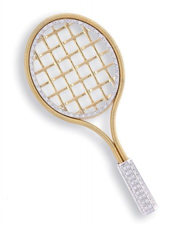 Marco Bicego Tennis Racket 18k Gold & Diamond Brooch – fine jewellery brooches – luxury jewelry – diamonds